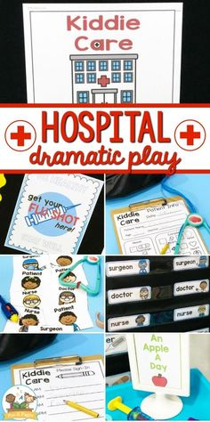 Doctor's Office Dramatic Play Center for Kids Hospital Dramatic Play Center. Printable props to help you quickly and easily transform your dramatic play center into a hospital, so many opportunities for learning and fun! Dramatic Play Themes, Dramatic Play Area, Dramatic Play Centers, Preschool Dramatic Play, Play Based Learning, Learning Through Play, Learning Centers, Doctor Role Play, Playing Doctor