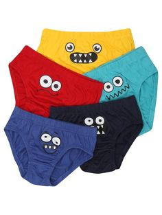 M&Co. Boys Monster face briefs five pack