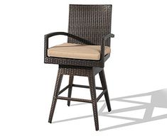 Ulax furniture Outdoor Patio Furniture All-Weather Brown Wicker Swivel Bar Stool with Cushion Wicker Bar Stools, Outdoor Bar Stools, Swivel Bar Stools, Outdoor Chairs, Outdoor Furniture, Shower Chair, Beige Cushions, Budget Patio, Foot Rest