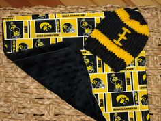 Knitted IOWA HAWKEYE Baby Football Hat with Iowa by Knits4Noggins, $27.00