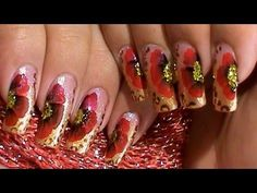 How To Paint A One Stroke Red Poppy Flower Nail Art Design Tutorial (+pl...