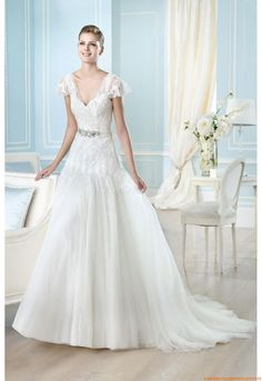 Stickerei Elegante Preiswerte Brautkleider aus Softnetz