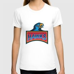 Hawk Head Side Retro T-shirt. Illustration of a hawk falcon head looking to the side with the word Hawks inside rectangle shape done in retro style.#illustration #HawkHead