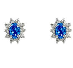 Dreda Blue Sapphire Halo Stud Earrings | Cubic Zirconia | Silver