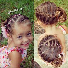 ute elastics and wrap around braid style, credi Cute Toddler Hairstyles, Lil Girl Hairstyles, Princess Hairstyles, Pretty Hairstyles, Toddler Haircuts, Little Girl Braids, Braids For Kids, Wrap Around Braid, Gymnastics Hair