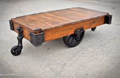 Vintage Industrial Factory Cart Coffee Table