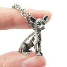 Realistic Chihuahua Puppy Dog Shaped Animal Pendant Necklace in Silver | Jewelry for Dog Lovers