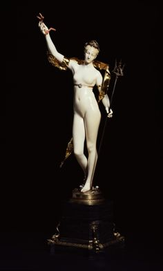 Amphitrite /// The statuette of this goddess of the sea was designed by the sculptor Marius-Jean-Antonin Mercié to be cast in silver as the centerpiece for a table of the Duke of Santonia in 1878. Subsequently, Christolf et Cie., a silver company, had several ivory statuettes carved by E. P. Scalliet (1846-1911) based on Mercié's model. This example was exhibited at the Exposition Universelle held in Paris in 1900.