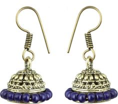 Waama Jewels Blue gold Plated back Push Style for women Daily Wear Gift For Girlfriend Pearl Brass Jhumki Earring Price in India - Buy Waama Jewels Blue gold Plated back Push Style for women Daily Wear Gift For Girlfriend Pearl Brass Jhumki Earring Online at Best Prices in India | Flipkart.com