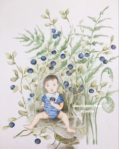 I placed this little cutie nephew of mine in a blueberry forest scence, inspired by our hike in the mountains. I love whimsical and fairytale like illustrations. Watercolor Illustration, Cute Boys, Tinkerbell, Fairytale, Blueberry, Whimsical, Disney Characters, Fictional Characters, Autumn