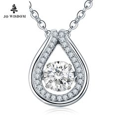 Wholesale Necklace 925 Sterling Silver Pendant Necklace with Dancing Diamond for Mothers Day Gift
