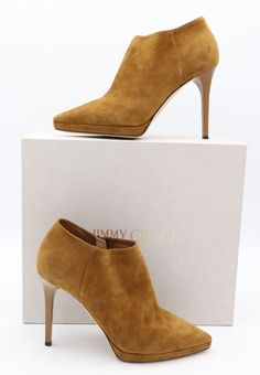 52c274cb83e Jimmy Choo Lindsey 100 Brown Suede Platform Point-Toe Shoe Ankle Booties 10  40