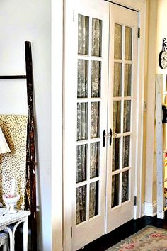 Upstairs Hallway French Doors, French Doors, Hallway, Lace Curtains, Linen Closet