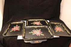 Vintage Black Metal Toleware Tray Decorated  Roses Gold Scrolling Flowers set 4