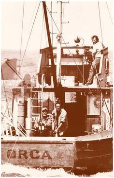 A great Jaws movie poster - the crew of the Orca: Roy Scheider, Richard Dreyfuss, and Robert Shaw! They needed a bigger boat! Ships fast. 11x17 inches. Need Pos