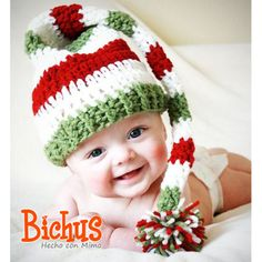 Christmas elf hat, Long Tail Elf Hat with Pom Pom - Newborn to Toddler - Green White Red Contemporary Christmas- Great Photo Prop - Made to Order Knit Crochet, Crochet Hats, Foto Baby, Elf Hat, Pom Pom Hat, Baby Pictures, Beautiful Babies, Baby Hats, Baby Love