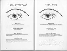 flapper eye makeup and eyebrow chart