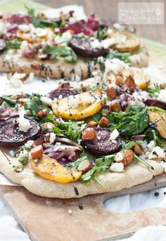 Grilled Beet Flatbread Salad from HappyFoodHealthyLife.com on foodiecrush.com