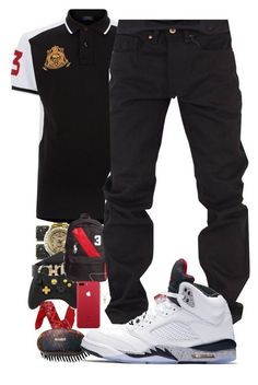 A menswear look from August 2017 featuring polo ralph lauren mens shirts, men's relaxed fit jeans and nike mens shoes. Browse and shop related looks. Dope Outfits For Guys, Swag Outfits Men, Tomboy Outfits, Teen Boy Fashion, Tomboy Fashion, Mens Fashion, Young Fashion, Dope Fashion, Fashion Pants