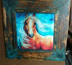 This item is unavailable Palomino, Horse Art, Deep Blue, Blues, Bright, Horses, Canvas, Painting, Etsy Shop