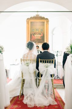 Tulle bows for the bride and groom's chairs. Edwin and Anseina's Pastel Perfection Wedding at the Armenian Church of Singapore
