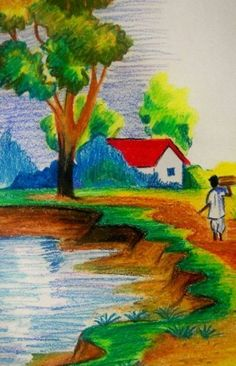 Landscape drawing ideas easy landscape easy landscape drawing for kids village scenery drawing for kids easy Landscape Drawing For Kids, Scenery Drawing For Kids, Easy Landscape Paintings, Scenery Paintings, Art Drawings For Kids, Landscape Drawings, Nature Paintings, Easy Drawings, Drawing Ideas