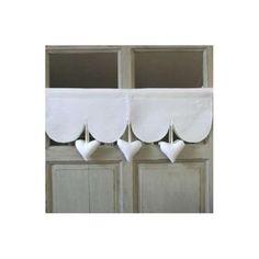 Rideau Cantonniere Coeur Deco Blanche Decoration, Shabby Chic, Curtains, Tutu, Kitchen, Salons, Cottage, Furniture, Heart