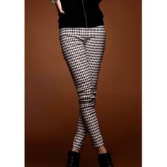 Houndstooth color block slimming modern style women s leggings as the