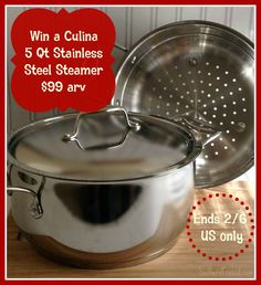 I don't know about you and your family, but we need to eat more veggies! This Culina Stainless Steel Steamer would be perfect. With the Culina Stainless Steel Steamer you can boil, steam, and strain all in one pot without all the extra fuss. No...