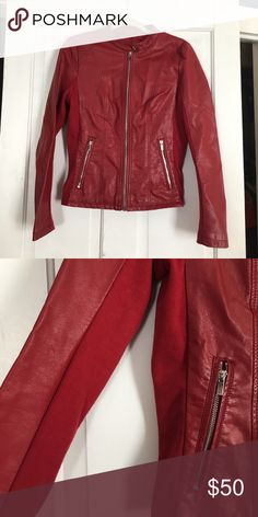 Red, faux leather jacket. Kenneth Cole Reaction, red, faux leather jacket with ribbed fabric on sleeves and sides. Very flattering tailored waist. Like new condition. Kenneth Cole Reaction Jackets & Coats Blazers