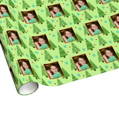 Christmas Tree Holiday Wrapping Paper. Add your own photo to this customizable Christmas / Holiday wrapping paper.