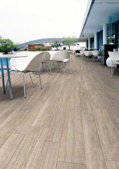 Wooden porcelain tile for a pool ORSA: Orsa-cr Blanco - 44'3x89'3cm.   Floor Tiles - Porcelain   VIVES Azulejos y Gres S.A.  #porcelain #tile #outdoors