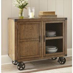 Furniture of America Matthias Industrial Rustic Pine Mobile Dining Buffet/Server | Overstock.com Shopping - The Best Deals on Buffets