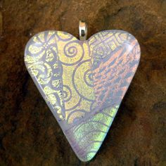 Fused Glass Heart Pendant  Shimmering White Patchwork by GlassCat, $28.00