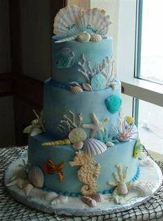 CAKE. beach wedding cake