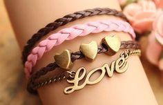 LOVE braceletretro bronze little love letters with by fabuloustime
