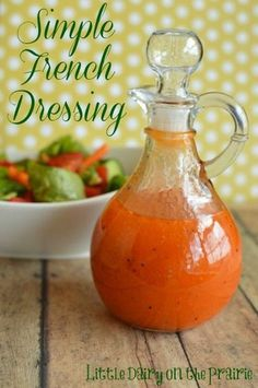 I am a little picky about my salad dressings. Making salad dressing at home is simple, less expensive, better for you and tastier than buying it. Simple French Dressing is a recipe that my mom got from a friend a long time ago. Salad Bar, Soup And Salad, Cesar Salat, Marinade Sauce, Salad Dishes, Homemade Dressing, Homemade Thousand Island Dressing, Salad Dressing Recipes, Antipasto