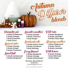 Fall essential oil diffuser blends: Pumpkin Pie, Sweater Weater, Spiced Cider, Snickerdoodle and more. Young Living Essential Oils - Maurna Williams Independent Distributor No. Fall Essential Oils, Essential Oil Diffuser Blends, Young Living Essential Oils, Young Living Thieves, Essential Oil Perfume, Young Living Oils, Pure Essential, Diffuser Recipes, Diffuser Diy