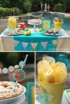 Pool Party Ideas! Dessert Table, Fun Food & Party Printables by Amy Locurto @Amy Lyons Lyons Locurto {LivingLocurto.com}.com