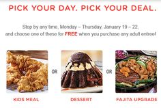 CHILI'S $$ Reminder: Coupon for FREE Kid's Meal, FREE Dessert & FREE Fajita Upgrade – Expires TODAY (1/22)!