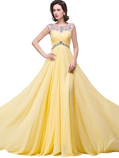plus size prom dresses for Women Chiffon Bridesmaid Gown,  Yellow, 16 Price: $64.90 - $69.90