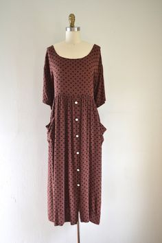 1990s brown pattern button up dress // ethnic by SpanoVintage