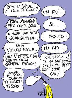 #Vignetta umoristica di Massimo #Cavezzali - La vita difficile.
