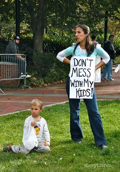 """This photo is from the October 2013 March Against Monsanto in Philadelphia. The sign says """"DON'T MESS WITH MY KIDS!"""""""