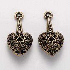 Drop Heart Pendant - Tibetan Style - Antique Golden Color - Size About 29mm…