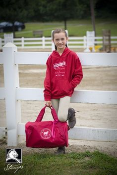"""Perfect Horse Show gear - """"Horses are a girl's best friend"""" sweatshirt and pony duffle bag. Get ready for fall horse shows!"""