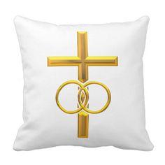#Golden 3-D #Cross with #Wedding #Rings Throw Pillows...#pillows #homedecor #throwpillows #interiordecorating #interiordecoration #interiordesign #livingroom #bedroom #den #RoseSantuciSofranko #Artists4God  #Artist4God   #home #accessories #decor #lumbarpillows #custom #customizable #Zazzle