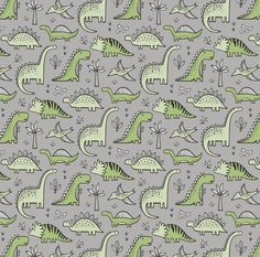 Dino Fabric Dinosaurs In Green On Grey By Caja Design Dino