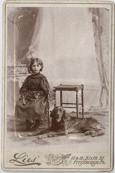Girl with her Dog and Cat - Cabinet Card