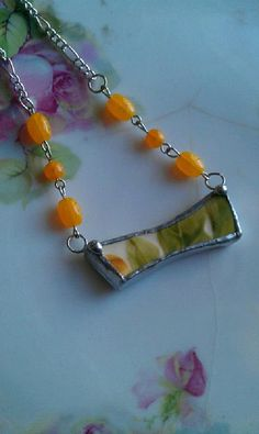Spring Yellow and Green Broken China Necklace by Mysticglassduo, $24.00 Broken China Crafts, Broken China Jewelry, Handcrafted Jewelry, Unique Jewelry, Jewelry Crafts, Jewelry Making, Necklaces, Jewellery, Personalized Items